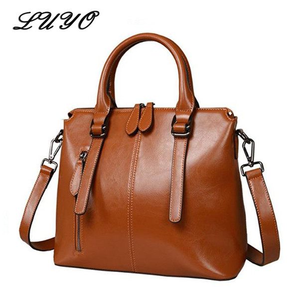 2019 Fashion LUYO Brand Fashion Wax Oil Luxury Genuine Leather Briefcase Top-handle Shoulder Bags Female Ladies Handbags Women Blue Tote Bag