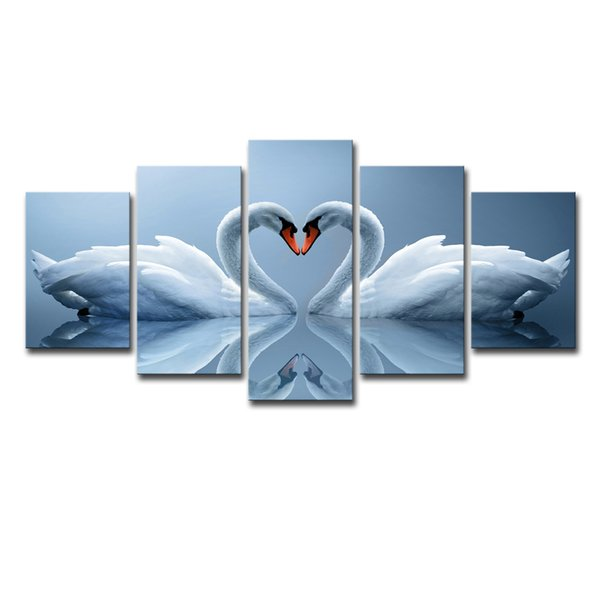 Wall Art Pictures Canvas Art Poster Print Painting Home Decoration Frames 5 Panel Animal Love Swan HD Photo For Kids Room