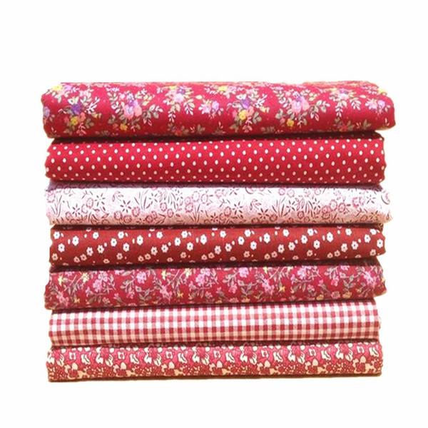 7pcs / lot 50x50cm Nouvel Arrive Rouge Floral Dot 100% Tissu De Coton À Coudre Tilda Poupée Tissu BRICOLAGE Quilting Patchwork Tissu Textile