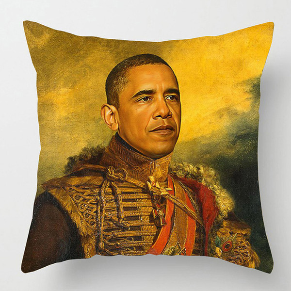 Oil Paintings Celebrities Cushion Covers Portrait Obama Trump Bill Murray Cushion Cover Thick Linen Pillow Case Bedroom Decor