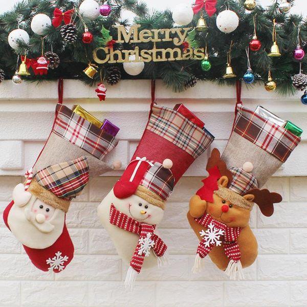 Calze di Natale Fatto a mano Artigianato Bambini Regalo di caramelle Babbo Natale Babbo Natale pupazzo calza calze calza albero di natale Decorazione regalo del giocattolo # 37 38 39