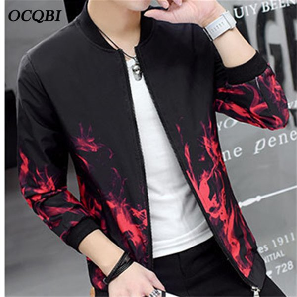 PU Motorcycle Fasion Bodycon Autumn High Quality Baseball Jacket Basic Coat Korean Causal Men Red Jacket