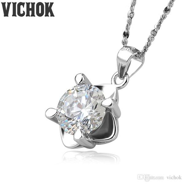 Стерлингового серебра 925 PendantNecklace круглый любовь цветов 8 мм Ожерелье для женщин любитель ювелирных украшений белый фиолетовый цвета Оптовая VICHOK