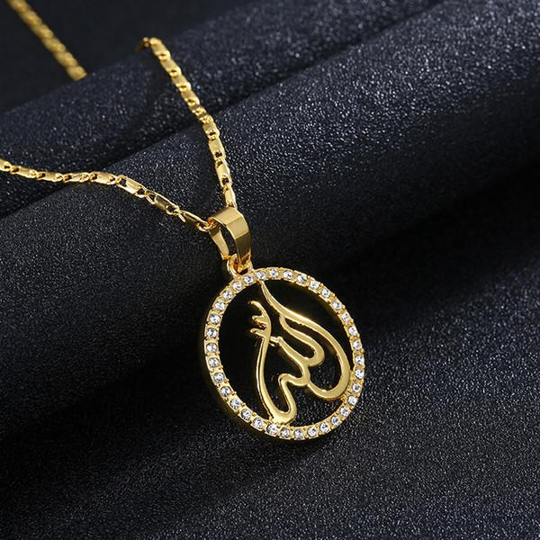 Top grade new product, 24K gold, Islamic totem, diamond / male fashion necklace, sweater chain A243#
