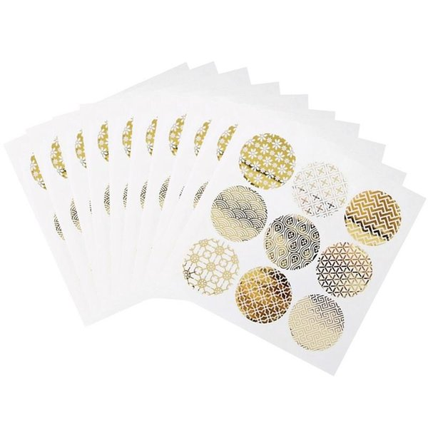 New 90PCS Gold Round Gliding Transparent Sealing Sticker Cookie Egg Cake Adhesive Sticker Candy Box Decorative Sticker for Party