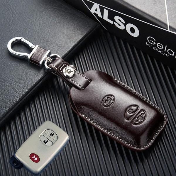 Car Remote Control Fob Leather Key Cover for Toyota LC200 Land Cruiser 4700 5700 Prado 150 2015 Key Case Holder Keychain Accessories