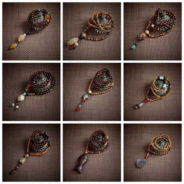 Multi Styles Retro Vintage Africa Wood Long Necklace Handmade Bead Long Necklaces Pendants For Women - Statement Jewelry