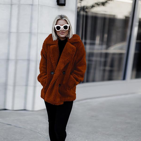 tendenza 2018 vendita calda autunno e inverno carino girocollo-colletto allentato donna cappotto lungo tasche piene pulsante più cappotto femminile di dimensioni