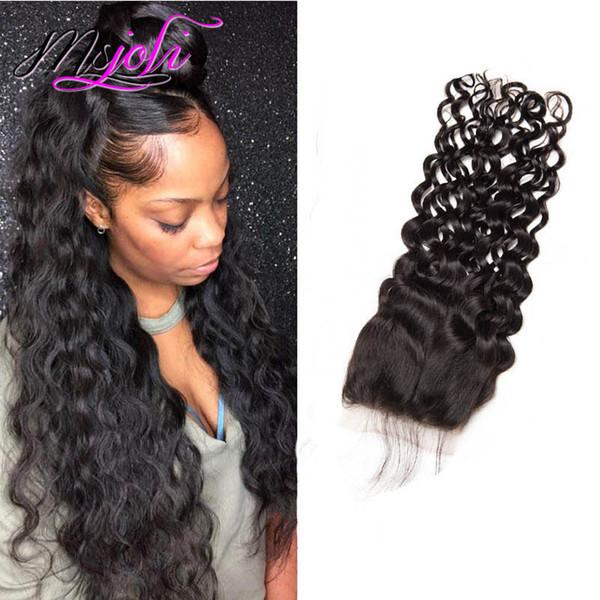 Cierre del cordón del pelo humano peruano crudo 4X4 Cierre de la onda de agua con el pelo del bebé Medio libre Tres partes 8-24 pulgadas mojado y ondulado