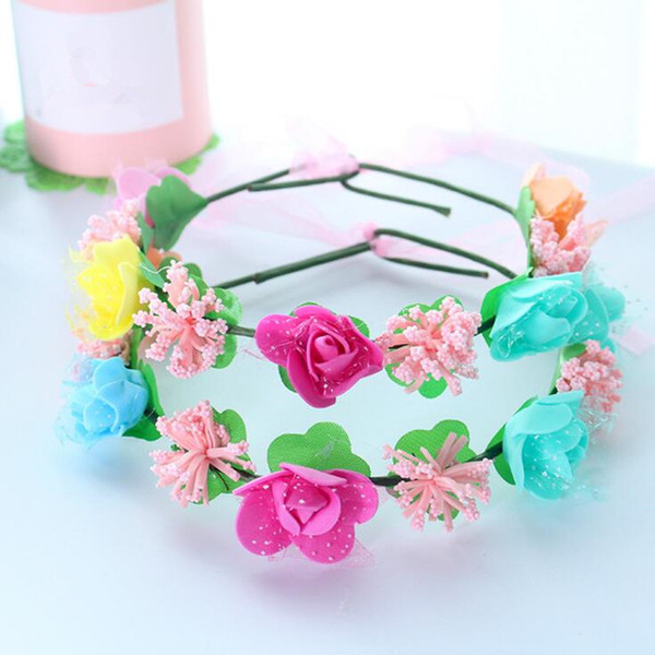 Colorful Flowers Headband Garland Wreath Kids Children Floral Headwear Hair Accessories Wedding Party Favor