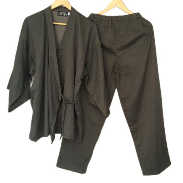 Cotton Yukata Japanese Kimono Men Pajamas Sleepwear Mens Cotton Kimono Robe and Pants M L Size