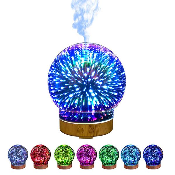 Ledertek 100ml 3D Aromatic Night Light Aroma Essential Oil Diffuser Ultrasonic Cool Mist Humidifier with 8 Color LED Mood Light