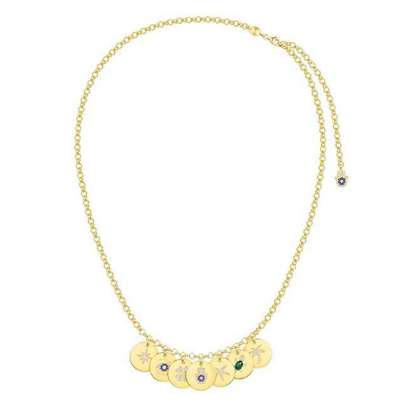 925 sterling silver yellow gold color lucky coin chain necklace with ete sea turtle star palm eye cubic zirconia pendant