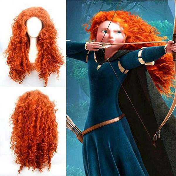 new hanzi_beauty brave wig cosplay orange wig long hair heat resistant synthetic wigs curly Anime wig