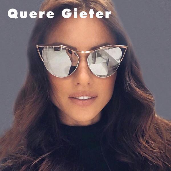 7ad8c974b13df 2018 Marca de Moda Designer de Olho de Gato Óculos De Sol Das Mulheres de  Metal