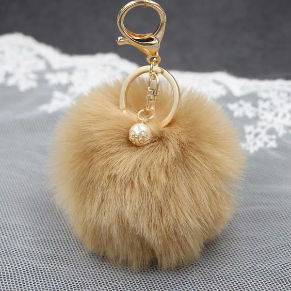 Freeshiping Big Fashion Pearl Rabbit Fur Ball Keychain Handbag Ring Plush Porte Clef Artificial Fur Pompom Key Chain Ornament Pompom pendant
