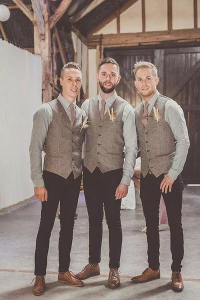 Venda quente de Alta Qualidade Cáqui De Lã Tweed Coletes Para O Casamento Custom Made Formal Colete do Noivo Plus Size Guarnição Fit Colete Para Homens