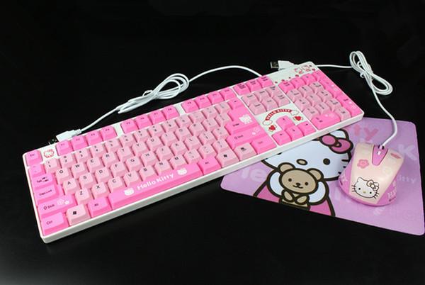MAORONG TRADING Nouveau Hellokitty filaire jeu clavier et souris filaire USB rose chat fille mignon bande dessinée clavier pour LOL CF DNF jeu