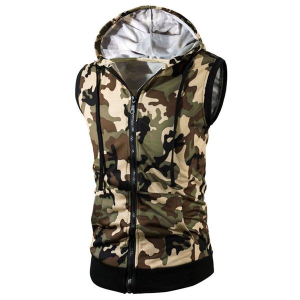 Fashion Camouflage Hoodie Vest Men Sleeveless Vest Summer Autumn Mens Zip Up Sweatshirts Casual Cotton Tee Shirt Plus Size L-3XL