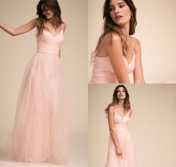Compre Vestidos De Dama De Honor Rosa Para El Jardín De Verano Bodas En El Campo Vestido De Invitados De Boda De Espaguetis Vestido De Noche Elegante