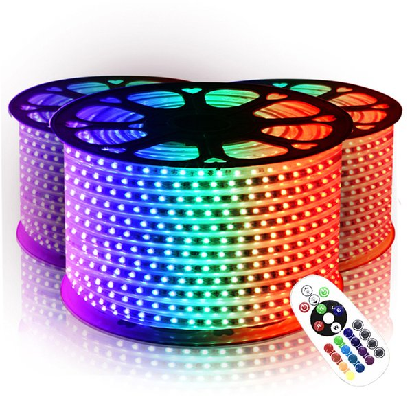Su geçirmez Şerit Işıklar SMD 5050 RGB 110 V / 220 V LED Şerit 10 M-50 M 60 leds / m IP65 Güç Kaynağı IR Uzaktan Kumanda