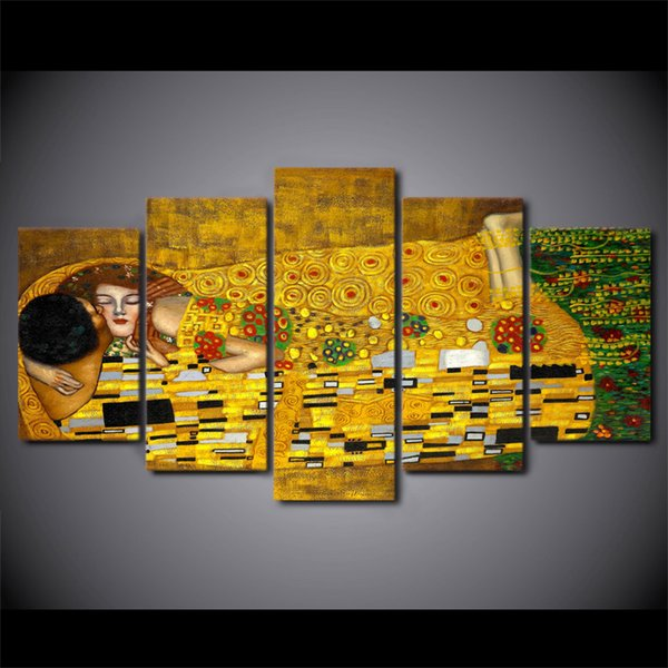 5 piece canvas art HD print Gustav Klimt artistic picture wall pictures for living room home decor free shipping UP-2005C