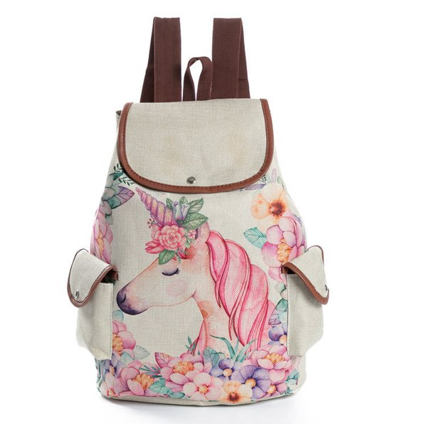 2018 factory selfdesign unicorn animal pattern printed linen canvas shoulder bag students' school bags travel backpack wholesale price