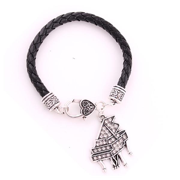 Nastro placcato antico placcato con scintillanti cristalli strass PIANO Charm Pendent Music Leather Chain Bracelet