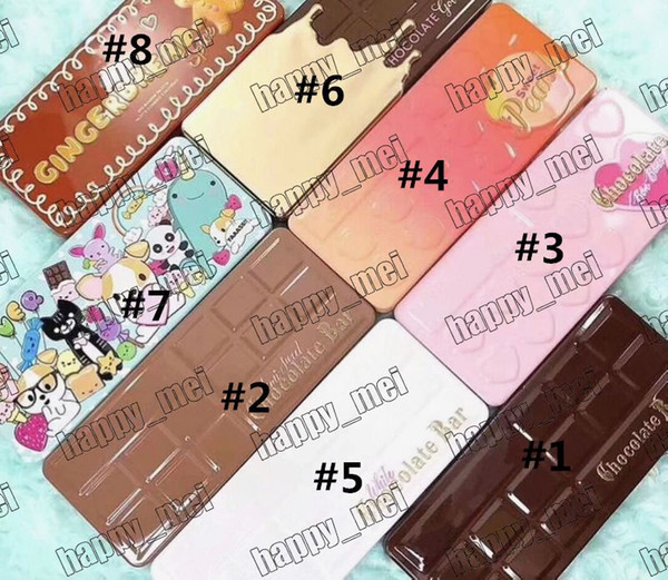 best selling Free Shipping DHL Chocolate Bar Sweet Bon Bons Semisweet White Gold Best Friend Sweet Peach Gingerbread Eyeshadow Palette!8 Different Colors
