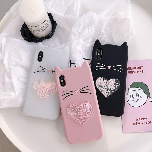 Good quality Cute 3D Silicone Cartoon Cat Pink Black Glitter Soft Phone Case Cover Coque Fundas For iPhone heart phone case new