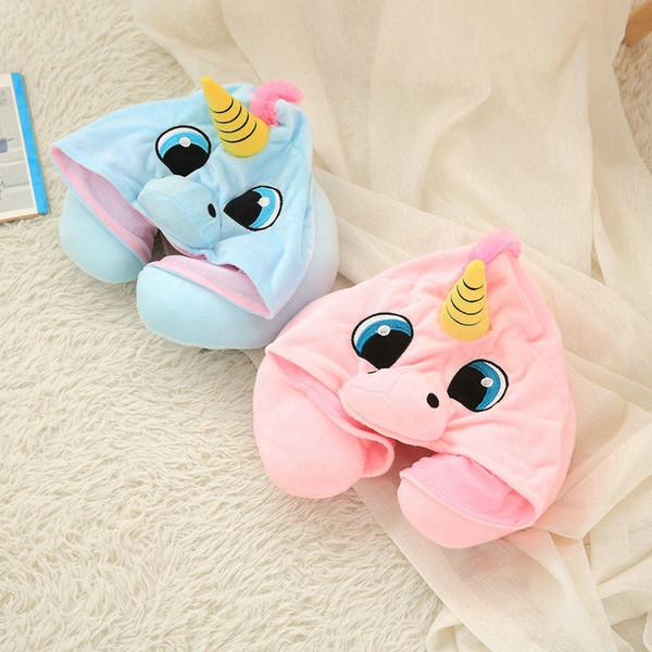 Cartoon Unicorn Plush Toy Soft Stuffed Animal Cushion Travel Pillow Car Airplane Soft Nursing Cushion with Hat Plush Toys