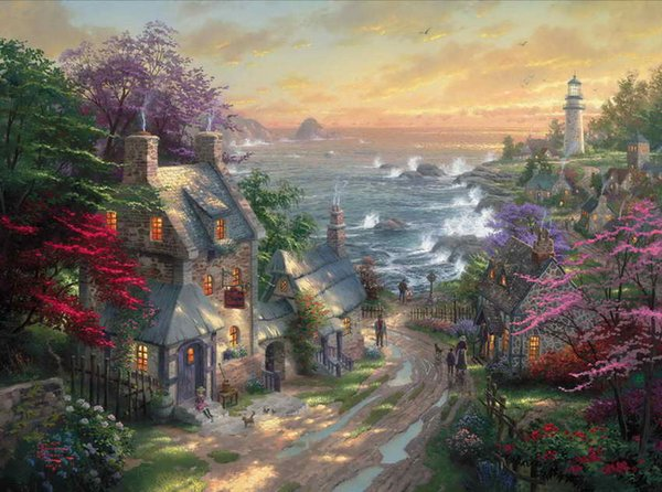 The Village Lighthouse Thomas Kinkade Oil Paintings Art Wall Modern HD Print On Canvas Home Decoration No Frame