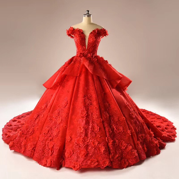 The new 3D stereo applique lace dress skirt red skirt tail flower back zipper collar wrapped round collar net bag mail cuff