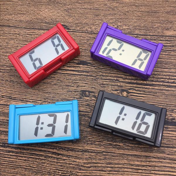 Presentes agradáveis Interior Auto Painel Do Carro Mesa Relógio Digital de Tela LCD Auto-Adesivo Suporte de Relógio de Plástico Mini Relógio de Tempo Com Bateria