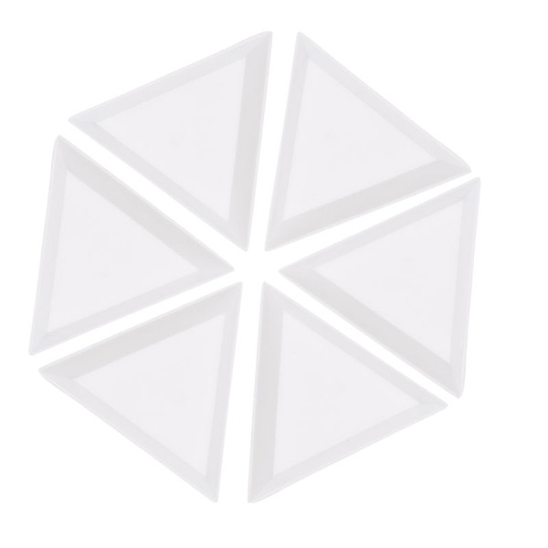 10Pcs Plastic Triangle Rhinestones Beads Crystal Nail Art Sorting Trays White New Hot