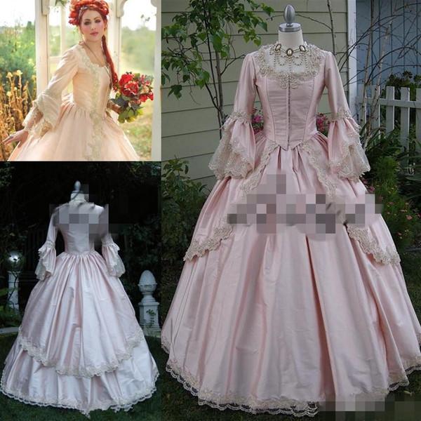 Großhandel Rosa Gothic Ballkleid Vintage 1920er Jahre Stil Scoop In Voller Länge Langarm Prom Kleider Custom Machen Viktorianischen Gothic Lolita ...