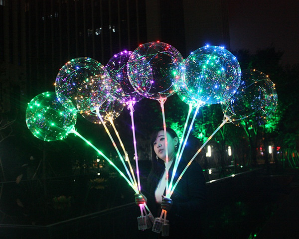 100pcs BOBO Balloon With Stick 3 Meters Luminous LED Light Up Transparent Balloons With Pole Stick For Party Decorations Fedex Free