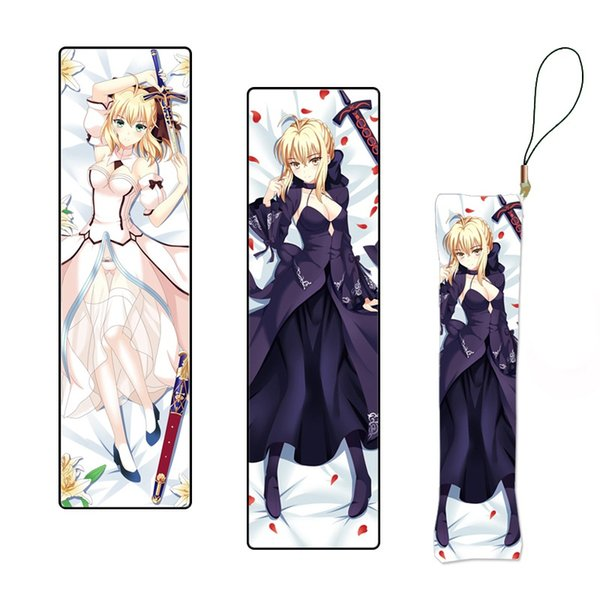 New Double Sided Fate Stay Night Anime Keychain Figure Saber Pillow Mini Dakimakura Key Holder Custom Key Chain Phone Strap