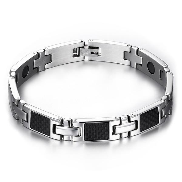 Drop shipping brand new men's stainless steel bracelet germanium carbon fiber bracelets fashion jewelry factory supplier wholesale 088