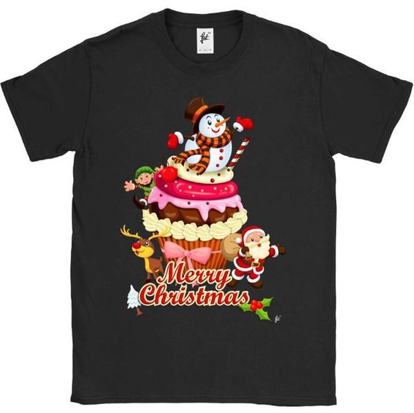 Merry Christmas Cupcake Santa Elf Reindeer Snowman Mens T-Shirt Print Tee Men Short Sleeve Clothing TOP TEE T Shirt Plus Size