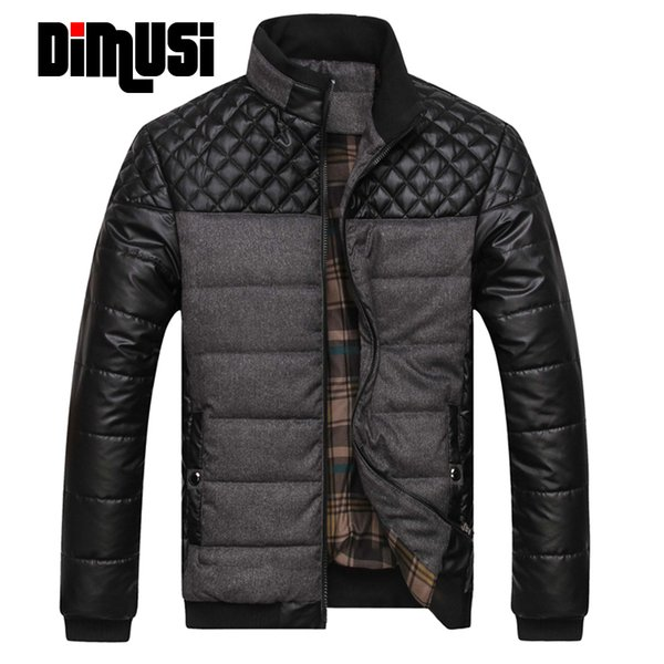 DIMUSi Winter Warme Mäntel Männer Bomberjacke Klassische Marke Patchwork Plaid Design Junger Mann Casaul Winter Parkas 4XL, YA468