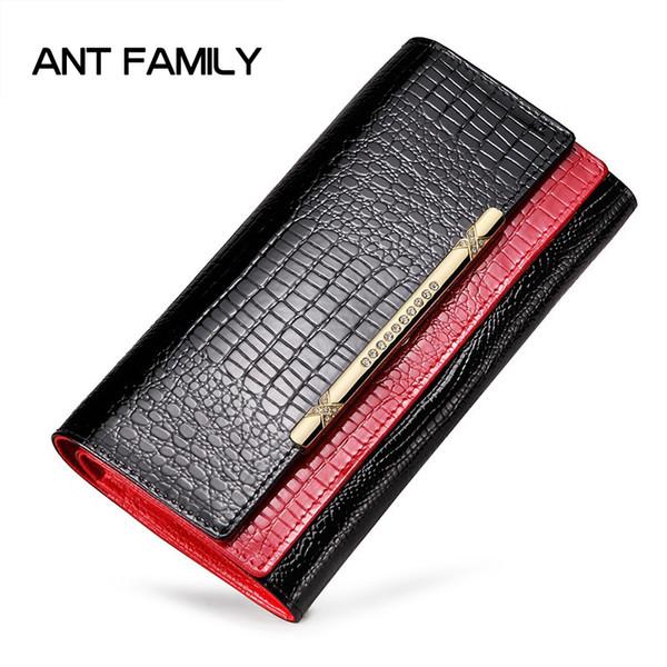 Großhandel Damen Echtes Leder Brieftasche Damenmode Designer Brieftasche Lackleder Brieftaschen Geldbörse Weiblichen Große Kapazität Porte Monnaie