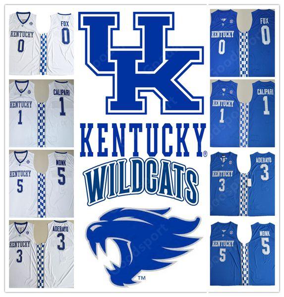 2018 Kentucky Wildcats COLLEGE NCAA Cousu broderie De Aaron Fox 0 John Calipari 1 Swingman Edrice Adebayo 3 maillots Malik Monk 5