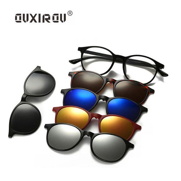 Moda Homens Mulheres Óculos Óculos Frames Polarized Magnetic 5 Clip On Tinted Óculos Espetáculo de Condução Masculino Miopia s2245