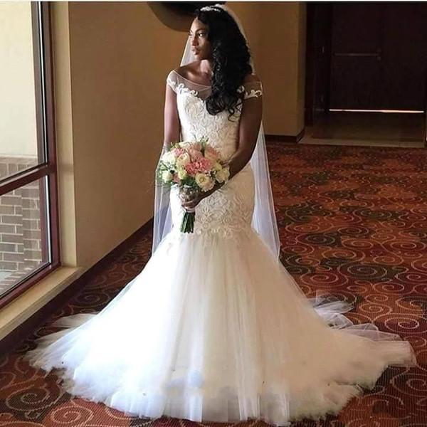 Africano nigeriano sereia vestidos de casamento Lace colher pescoço sem encosto tribunal trem camadas de tule vestidos de casamento vestido de noiva de alta qualidade