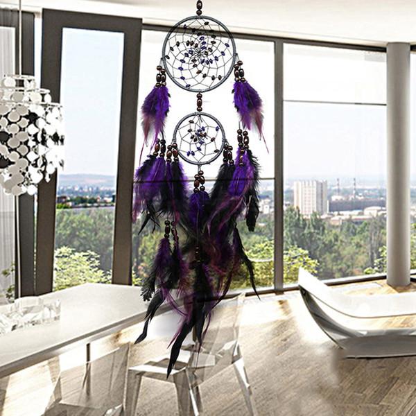 Nuevas artesanías de plumas Purple Dream Catcher Wind Chimes hecho a mano Dreamcatcher Net con cuentas de plumas para colgar en la pared decoración del hogar del coche