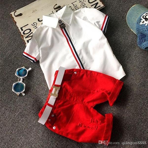 2017 NUEVO 2T-6T Conjuntos de ropa para niños de alta calidad Bebés niños niñas camisetas + pantalones cortos pantalones traje deportivo ropa para niños
