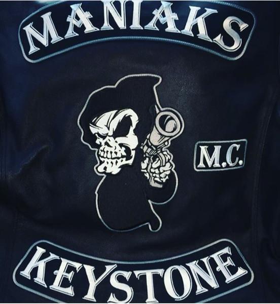 MANIAKS M.C. KEYSTONE Back Patch Rocker Biker Motorcycle Club Jacket Vest Morale MC Back of Jacket Iron on Clothing Vest Parch Free Shipping