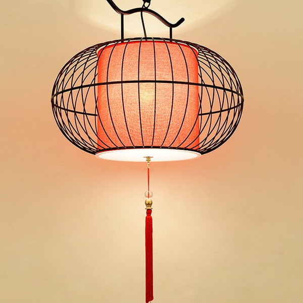 Creative Birdcage Pendant Light Round Iron Art Pendant Lamps China Restaurant Teahouse Bar Decorative Lamp Red White Decor Lamps Pendant Light Shades