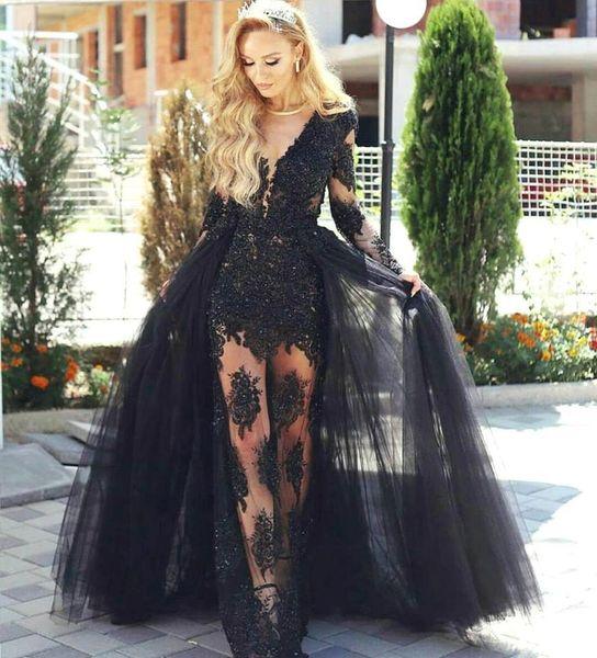 New Fashion Black scollo a V maniche lunghe guaina abiti da sera in pizzo Appliques gonne trasparenti con staccabile treno abiti da ballo BA7963